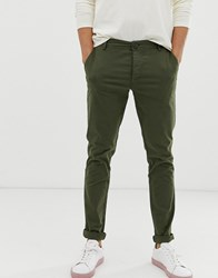 Selected Homme Skinny Chino In Khaki Green