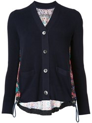Sacai Long Sleeve Crochet Lace Cardigan Blue