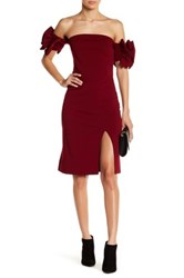 Gracia Off The Shoulder Ruffle Sleeve Dress Red