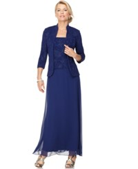 Alex Evenings Sparkled Jacquard Gown And Jacket Electric Blue