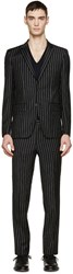 Givenchy Black And White Wool Pinstriped Suit