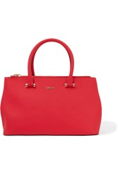 Dkny Textured Leather Tote Coral