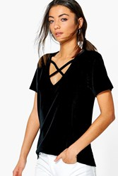 Boohoo Tall Celeste Velvet Cross Front T Shirt Black