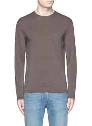 Isaia Silk Cotton Blend T Shirt Brown