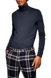 Topman Classic Fit Turtleneck Sweater Navy Blue