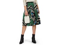 08Sircus Geometric Print Satin Pleated Front Midi Skirt Green Multi