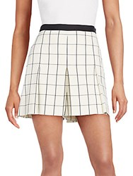 Proenza Schouler Pleated Windowpane Shorts White Black