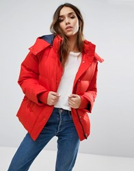 Warehouse Padded Coat Red