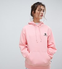 Converse Oversized Star Chevron Embroidered Pull Over Hoodie Pink