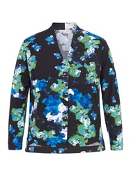 Chesca Abstract Floral Print Jersey Shrug Blue