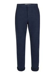 Topman Navy Panelled Twill Cotton Worker Trousers