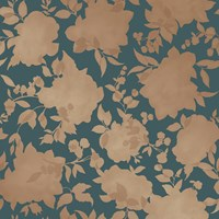 Tempaper Silhouette Removable Wallpaper Sample Swatch Peacock Blue And Gold Sample