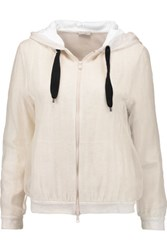 Brunello Cucinelli Layered Silk Organza And Cotton Blend Jersey Hooded Sweatshirt White