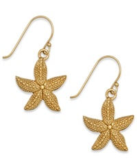 Macy's Textured Starfish Drop Earrings In 24K Gold Over Sterling Silver Yellow Gold
