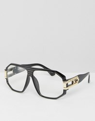 Asos Geeky Clear Lens Plastic Aviator With Metal Chain Arm Detail Black