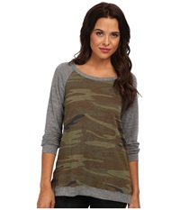 Alternative Apparel Printed Locker Room Pullover Camo Women's Long Sleeve Pullover Multi