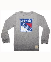 Retro Brand Men's New York Rangers Primary Mock Twist Long Sleeve T Shirt Gray