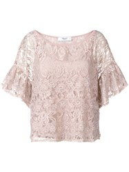 Blugirl Embroidered Floral Lace Top Pink