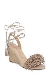 Sole Society Women's Rosea Ankle Wrap Sandal French Taupe Suede
