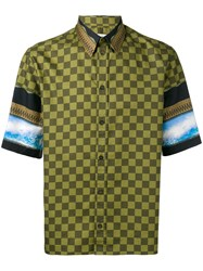 Givenchy Checked Panel Shirt Green