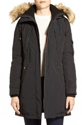 Women's Vince Camuto Faux Fur Trim Down And Feather Fill Parka Black