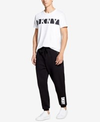 Dkny Men's Athleisure Relaxed Straight Fit Logo Print Joggers Black