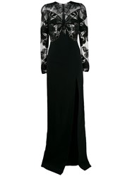 David Koma Sheer Butterfly Gown Black