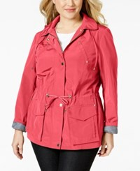 Charter Club Plus Size Hooded Anorak Utility Jacket Only At Macy's Tropical Pink