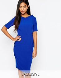 Vesper Midi Pencil Dress With V Neck And 3 4 Sleeve Blue