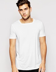 Asos Longline T Shirt With Square Neck And Stepped Hem White