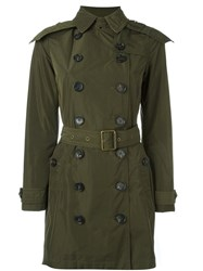 Burberry Hooded Double Breasted Raincoat Green