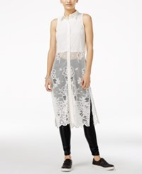Material Girl Juniors' Long Lace Top White