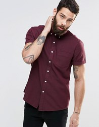 Asos Twill Shirt With Neps In Burgundy And Long Sleeve Burgundy Red