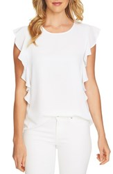 Cece Cascading Ruffle Top Ultra White