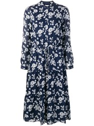 Michael Michael Kors Floral Print Shirt Dress Blue