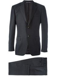 Canali Houndstooth Pattern Suit Grey