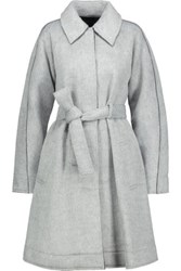 Marissa Webb Lacey Pleated Faux Fur And Neoprene Coat Gray