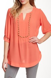 Nostalgia Elbow Length Sleeve Sheer Stud Blouse Orange