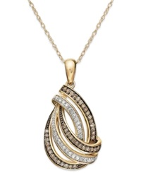 Macy's Wrapped In Love Brown And White Diamond Swirl Pendant Necklace In 14K Gold 1 3 Ct. T.W.