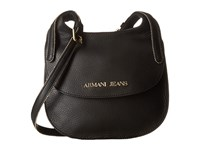 Armani Jeans Leather Crossbody Solid Black Cross Body Handbags