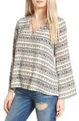 Lush Women's Cross Front Blouse Taupe