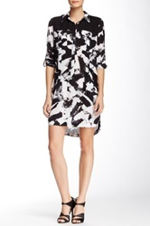 L.A.M.B. Brush Stroke Silk Dress Black