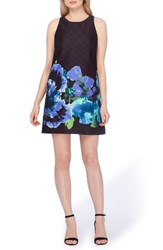 Tahari Women's Floral Trapeze Dress Black Violet Palm