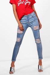 Boohoo Mid Rise Lace Insert Skinny Jeans Blue