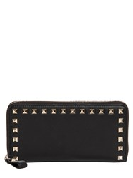 Valentino Rockstud Zip Around Leather Wallet