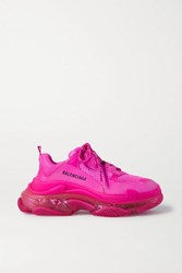 Balenciaga Triple S Clear Sole Logo Embroidered Foam And Mesh Sneakers Pink