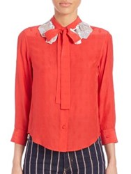 Marc Jacobs Sequin Collar Tie Neck Blouse Red