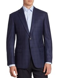Armani Collezioni G Line Windowpane Sport Coat Blue Purple