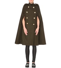 Sacai Khaki Wool Cape Coat Bk X Navy