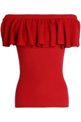 Autumn Cashmere Off The Shoulder Ruffled Ribbed Cotton Top Crimson